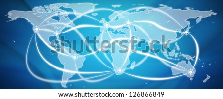 Trade world map - stock photo