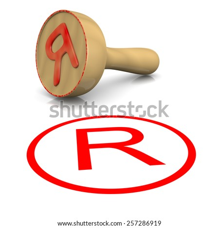 Trademark Red Ink Text Wooden Stamp on White Background 3D Illustration - stock photo