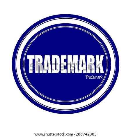 TRADEMARK white stamp text on blue - stock photo