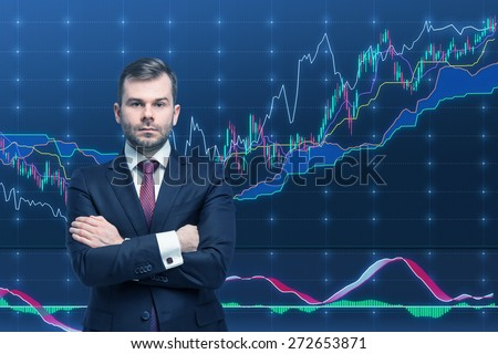 Trader and forex chart. A concept of prosperous portfolio management process. - stock photo