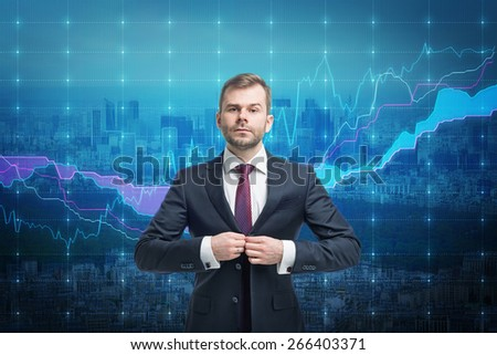 Trader businessman stand over stock market screen - stock photo