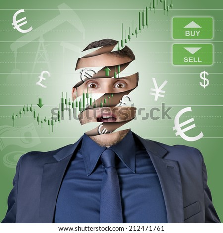 trader businessman with only money in the head illustration for trading - stock photo