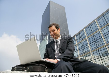 Trader working outside the office - stock photo