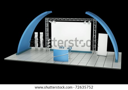 Tradeshow stand against a black background. 3D rendering. - stock photo