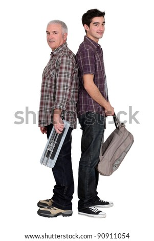 Tradesman and a college student - stock photo