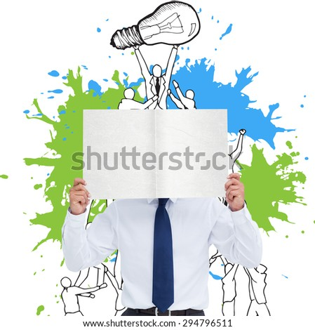 Tradesman holding blank sign in front of his head against teamwork concept on paint splashes - stock photo