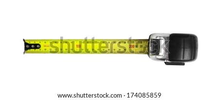tradesman old meter over white - stock photo