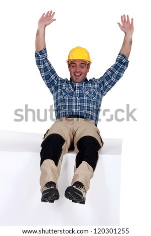 Tradesman sliding - stock photo