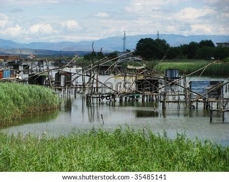 tradicional fishing on Bojana river, montenegro - stock photo