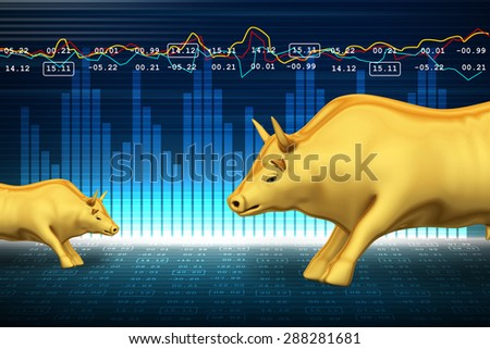Trading and investing financial symbol with bull - stock photo