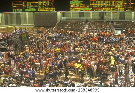Trading Floor of The Chicago Board of Trade, Chicago, Illinois - stock photo