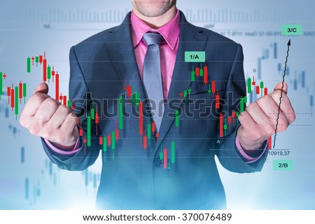 Trading Master. Successful Currency Trading Businessman Concept. Elegant Businessman and Forex Trading Line Graphs and Statistics. Success in Currency Investing. - stock photo