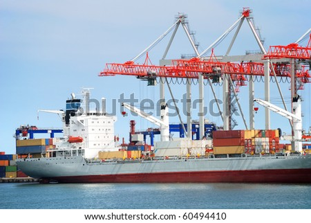 trading seaport with cargoes and ship