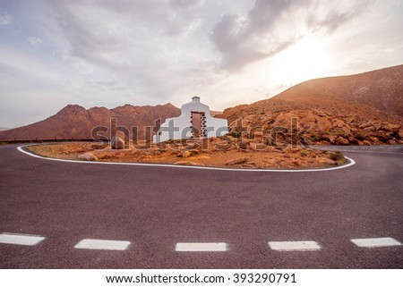 Traditioanal road sign of munipalicity on Fuerteventura island in Spain - stock photo