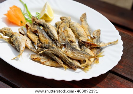 Tradition bulgarian seafood - fried scad. - stock photo