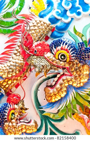 Tradition Chinese dragon painting on Chinese temple wall