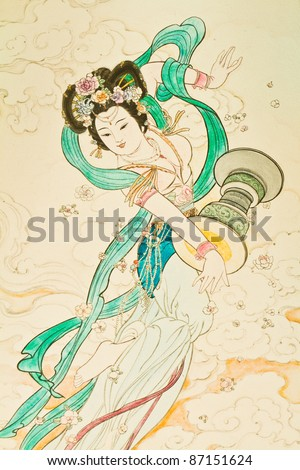 Tradition Chinese painting on Chinese temple wall - stock photo