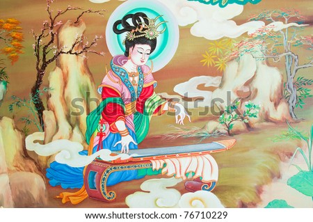 tradition Chinese painting on Chinese temple wall at Nakhonprathom province Thailand - stock photo