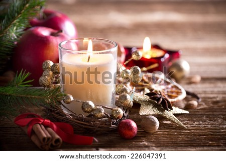 Tradition Christmas decorations on wooden background - stock photo