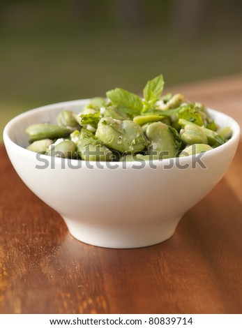 Tradition green boiled broad bean - stock photo