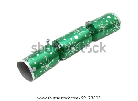 Tradition green metallic Christmas cracker - stock photo
