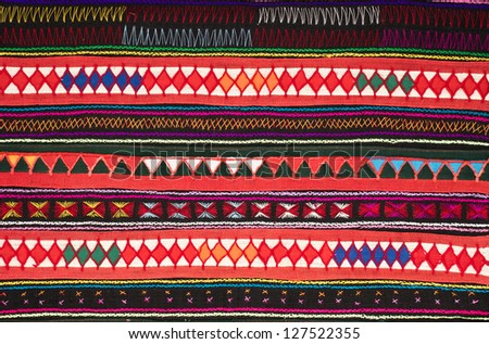 tradition handwork fabric of hill tribe at northern of Thailand - stock photo