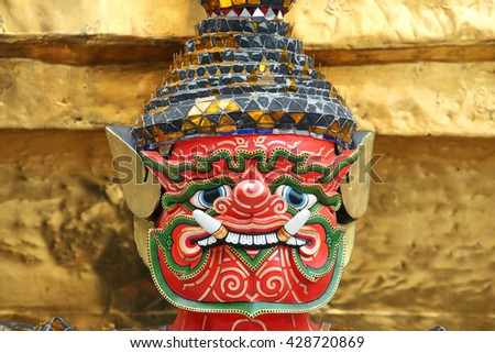 tradition ramayana demon mask as background.