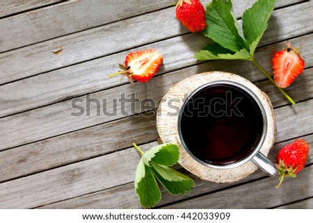 Tradition Summer juice drink with strawberries and mint with copy space top view. - stock photo