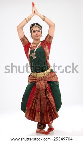 Tradition woman doing traditional dance - stock photo