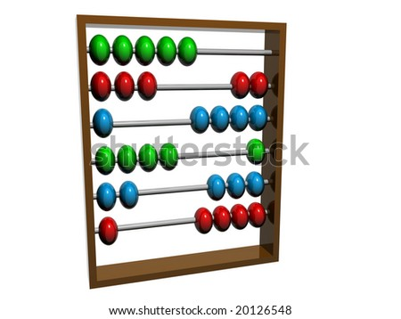 Traditional abacus used for counting. Isolated on white background.