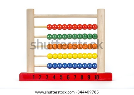 Traditional abacus with colorful wooden beads in front of white background .