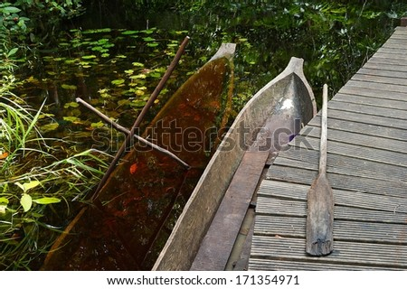 Traditional African canoes  at a wooden planked footway. Congo. Africa - stock photo