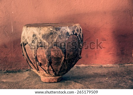 Traditional African drum - vintage. Shot in Lesotho.