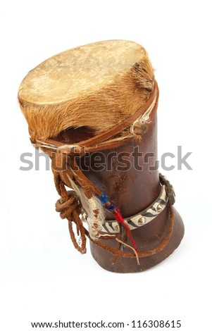 Traditional African Drum with cow hyde on a white background - stock photo