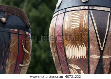 Traditional African drums made from wood. - stock photo