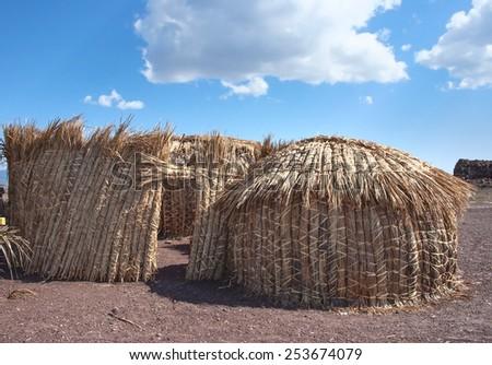 Traditional african huts,( EL Molo huts) Lake Turkana, in Kenya  - stock photo