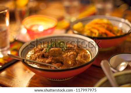 Traditional African lamb chunks ready to eat - stock photo