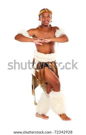 traditional african man studio portrait - stock photo