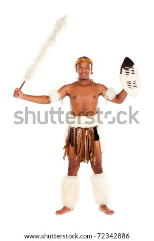 traditional african zulu man studio portrait - stock photo