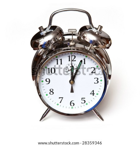 Traditional , alarm clock,  isolated on a white studio background.