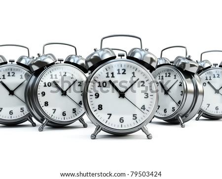 traditional alarm clocks - stock photo