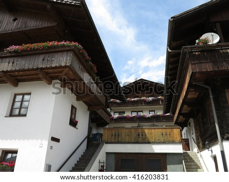 Traditional Alpen (Alps) mountains village, Austria - stock photo
