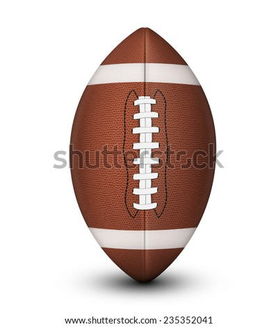 Traditional American football ball, with laces and white stripes isolated on a white background with clipping path and shadow. - stock photo