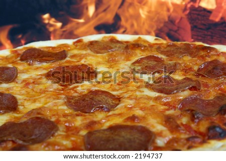 Traditional american/ italian cheese and pepperoni pizza, macro closeup with copy space. - stock photo