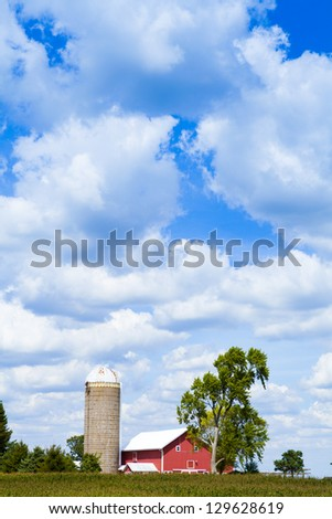 Traditional American Red Farm in Summer - stock photo
