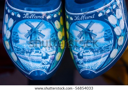 Traditional Amsterdam clogs in a  shop close to the center - stock photo