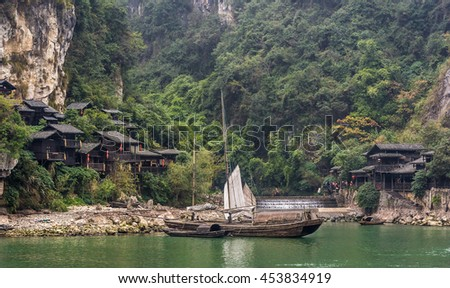 Traditional ancient fishing town in Three Gorges, China.