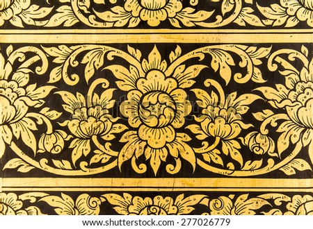 Traditional Ancient Thai style Gold painting art Pattern
