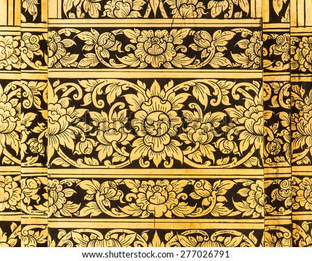 Traditional Ancient Thai style Gold painting art Pattern - stock photo