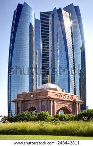 Traditional and modern architecture in Abu Dhabi. - stock photo